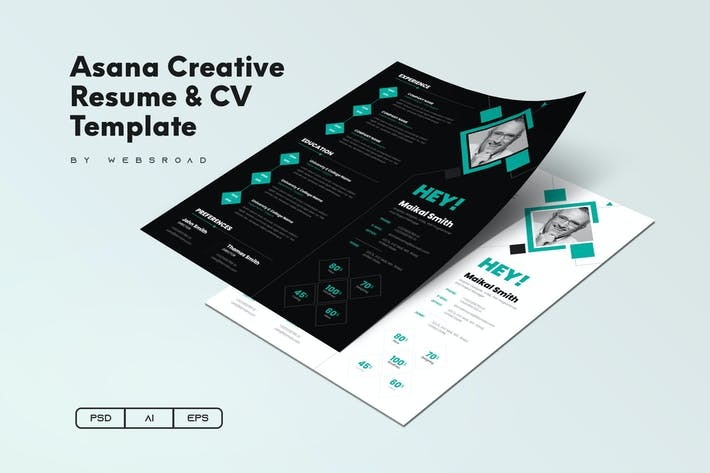 Thumbnail for Asana Creative Resume & CV Template