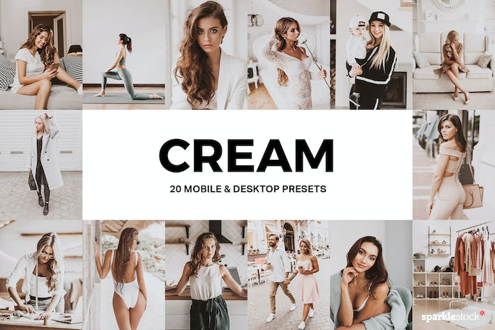 Cover Image For 20 Cream Lightroom Presets and LUTs