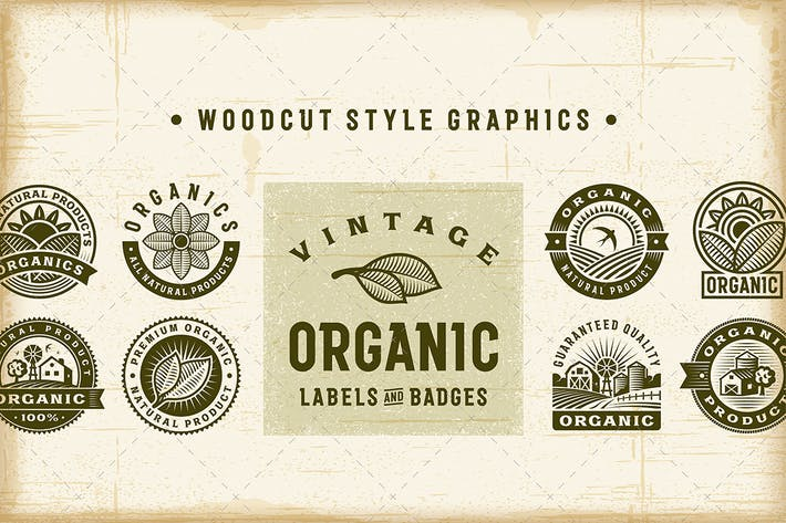 Thumbnail for Vintage Organic Labels and Badges Set