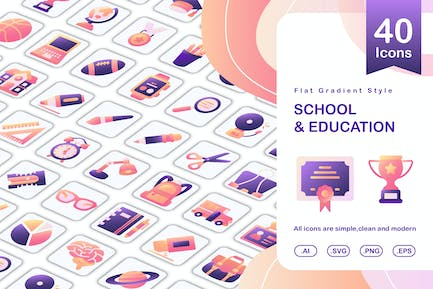set of education and school icon flat gradient