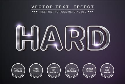 Outline metal - editable text effect, font style