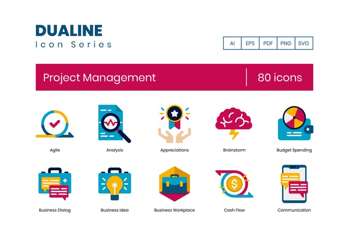 Thumbnail for 80 Project Management Flat Icons