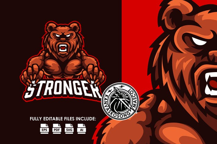 Red Grizzly Logo Template
