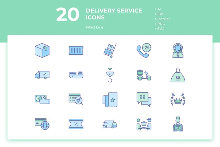 Thumbnail for 20 Delivery Service Icons (Filled Line)