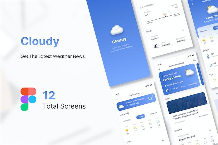 Cloudy Weather Mobile App UI Kit Figma