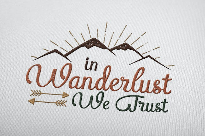 Thumbnail for Wanderlust T-Shirt / Retro Logo Design