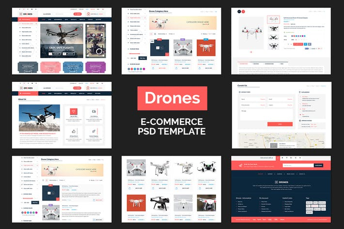 Thumbnail for Drones - E-Commerce PSD Template
