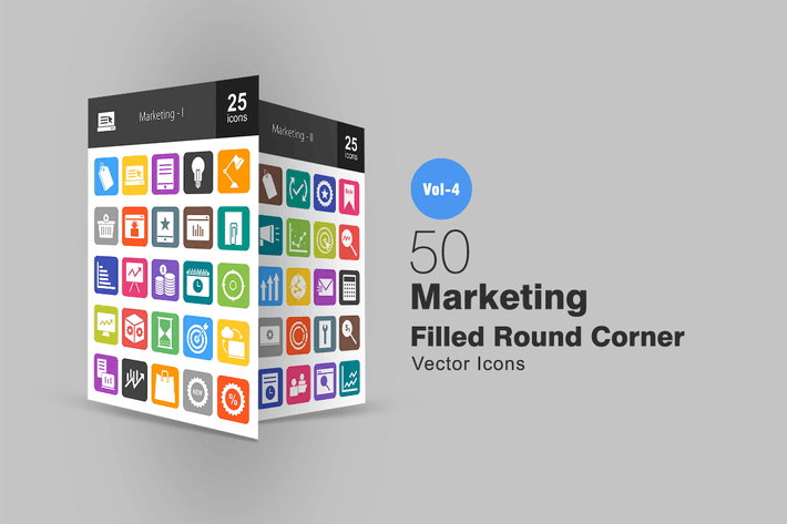 Thumbnail for 50 Marketing Flat Round Corner Icons