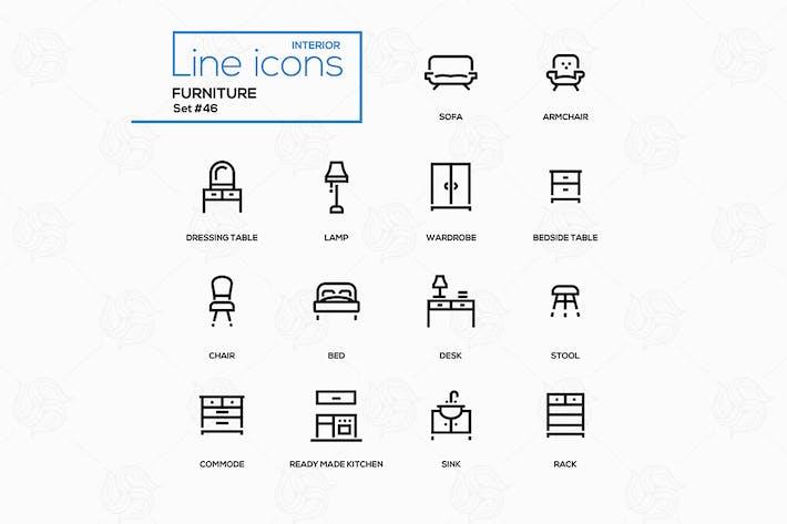Thumbnail for Мебель - набор Иконки для дизайна линии
