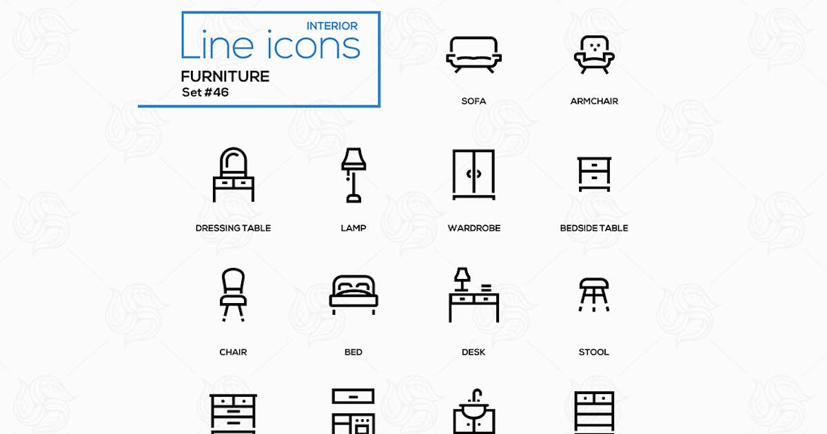 Download Furniture - line design icons set by BoykoPictures