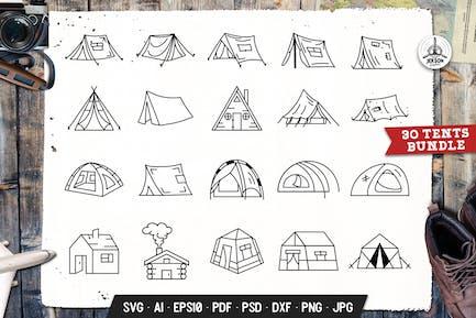 Camping Tent Set Adventure Line Art Vector Graphic