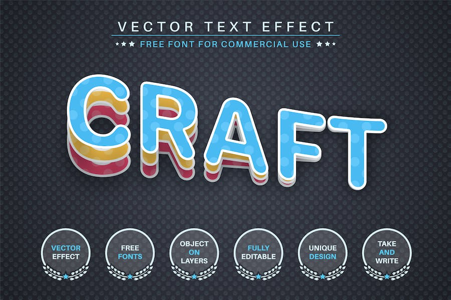 Slice paper - editable text effect, font style
