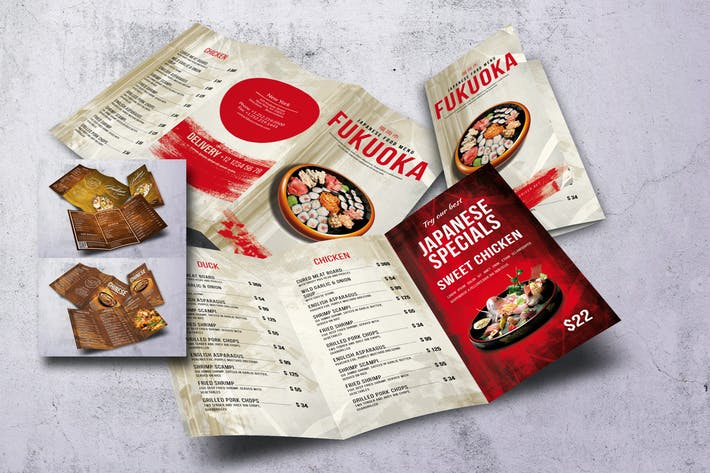 Thumbnail for Different Countries Trifold Food Menu Bundle V5