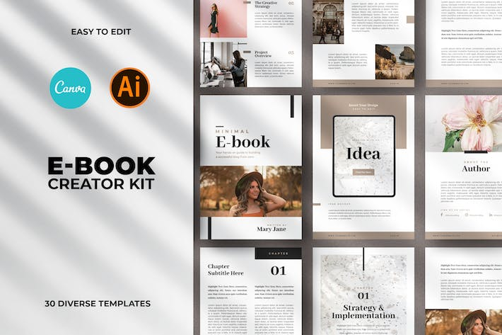 Thumbnail for Minimal Ebook Templates For Canva