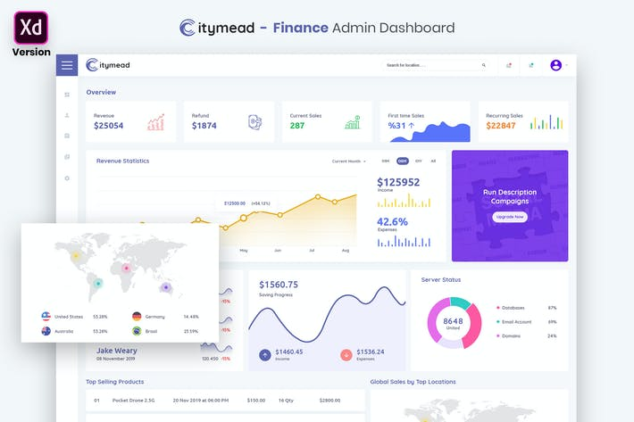 Thumbnail for Finance Admin Dashboard UI Kit (XD)