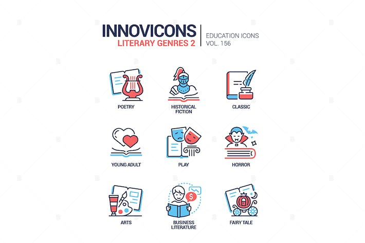 Thumbnail for Literary genres - line design style icons set