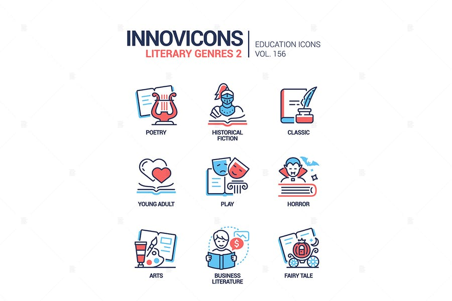 Literarische Genres - Linie Design Stil Icons gesetzt
