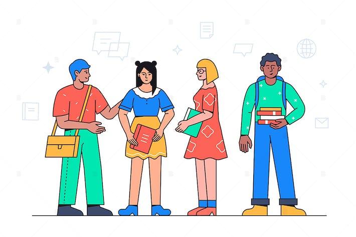 Glückliche Schüler - Bunte flache Illustration