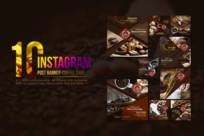 Cover Image For 10 Instagram Post Banner - Coffee Shop