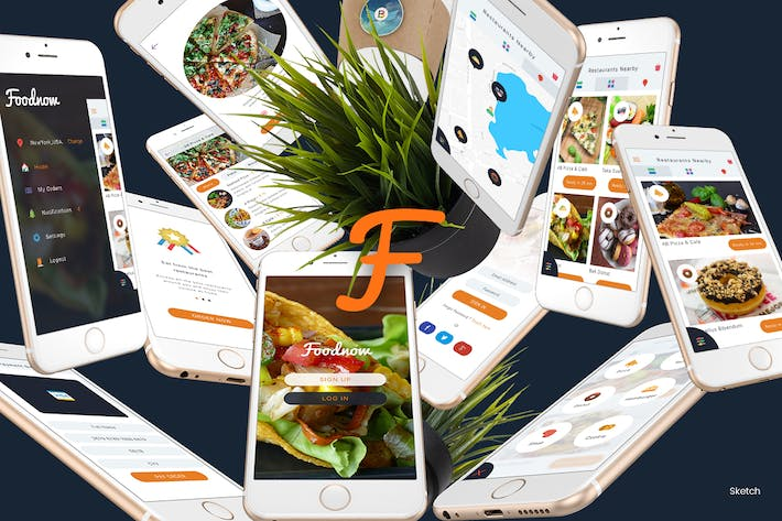 Thumbnail for Foodnow - Sketch Mobile UI Kit