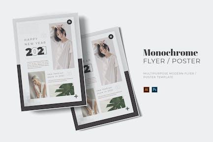 Monochrome New Year Flyer