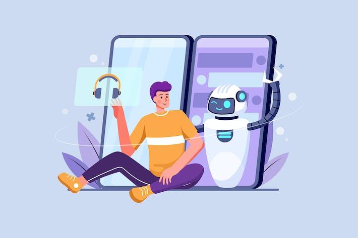 Chat Bot Messenger Illustration Concept
