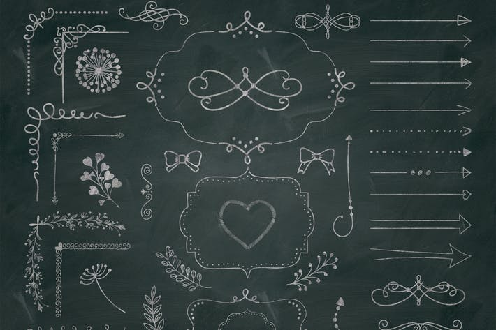Thumbnail for 50 PNG Chalk Drawing Elements