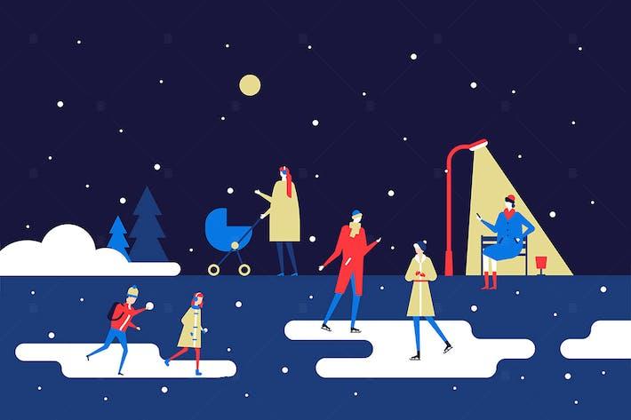 Thumbnail for Winter park - flat design style illustration