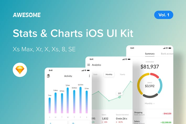 Thumbnail for Awesome iOS UI Kit - Stats, Charts Vol. 1 (Sketch)