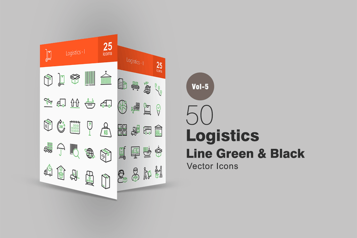 50 Logistics Line Green & Black Icons