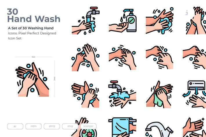 Thumbnail for 30 Washing Hand Icons