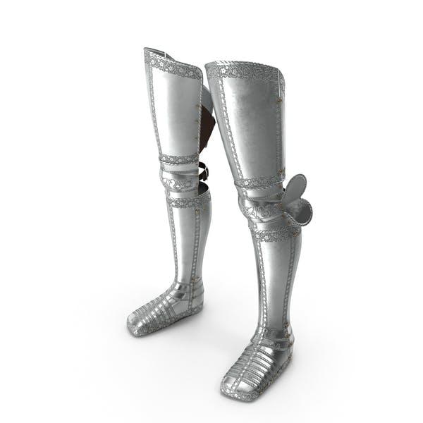 Mittelalterlicher Beinschutz mit Plattenrüstung