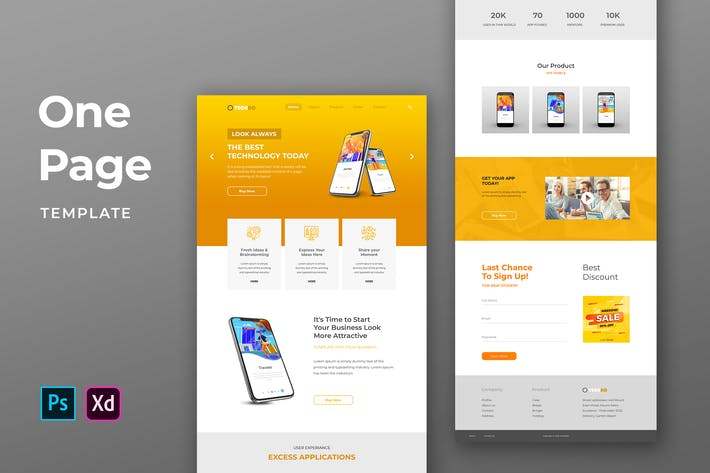 Thumbnail for Mobile App One Pages Template
