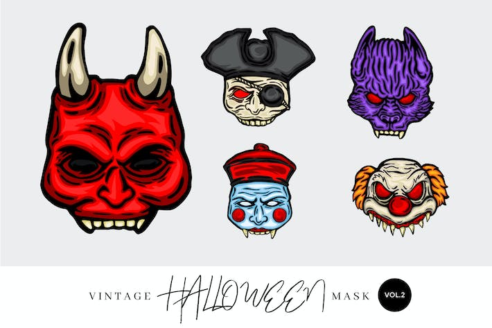 Thumbnail for 5 Vintage Hand Drawing Halloween Mask Vector 2