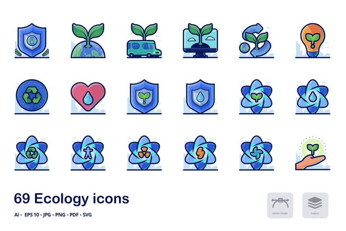 Thumbnail for Ecology Detailed Filled Outline icons