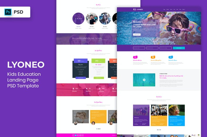 Thumbnail for Kids Education - Landing Page PSD Template