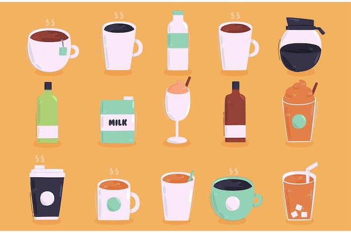 Sammlung von Getränkeillustration