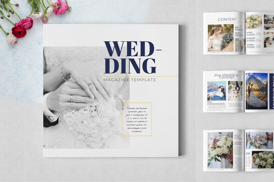 Square Wedding Magazine Template - product preview 0