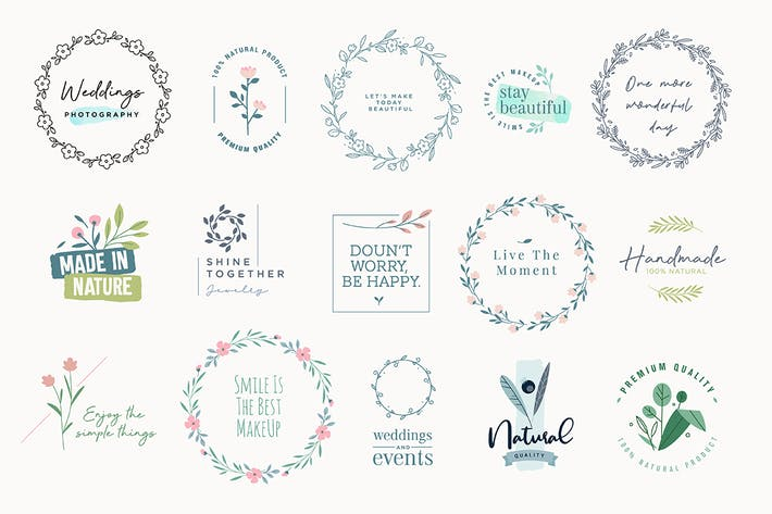 Thumbnail for Set of elegant signs and badges for beauty