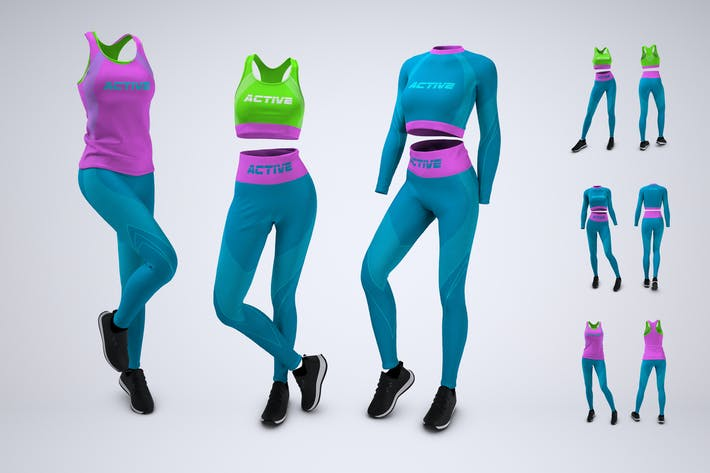 Thumbnail for Woman's Workout Outfit Mock-Up