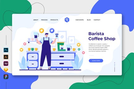 Barista Coffee Shop - Web & Mobile Landing Page