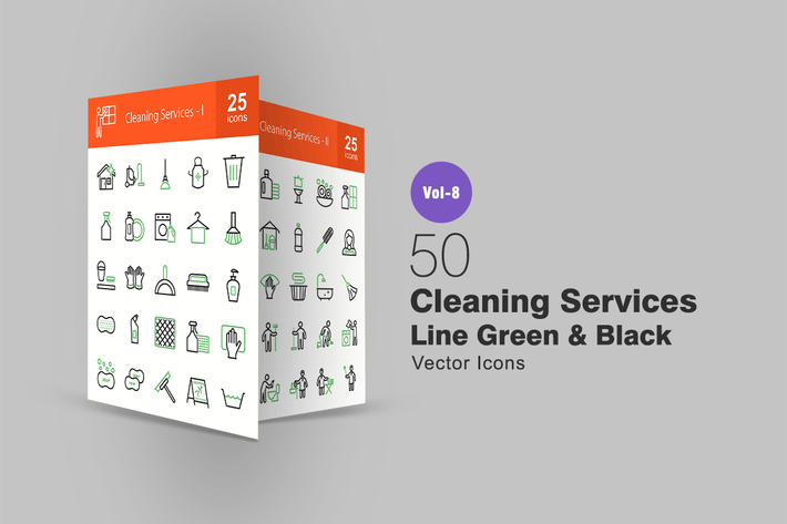 Thumbnail for 50 Cleaning Services Green & Black Line Icons