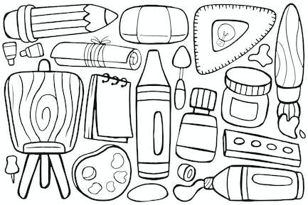 Art Studio Doodle in Cartoon Style #01
