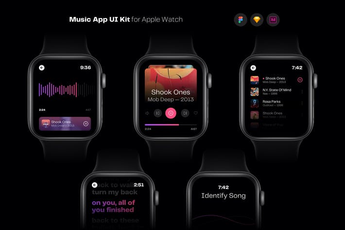 Thumbnail for Music App UI Kit for Apple Watch Template
