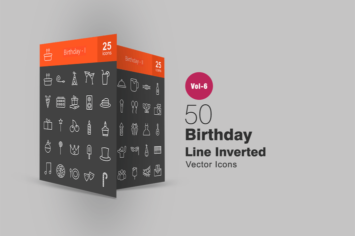 Thumbnail for 50 Birthday Line Inverted Icons