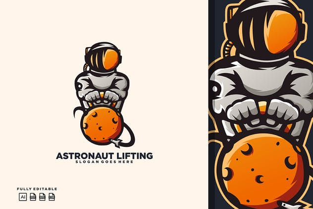 Astronaut Lifting Logo Templates