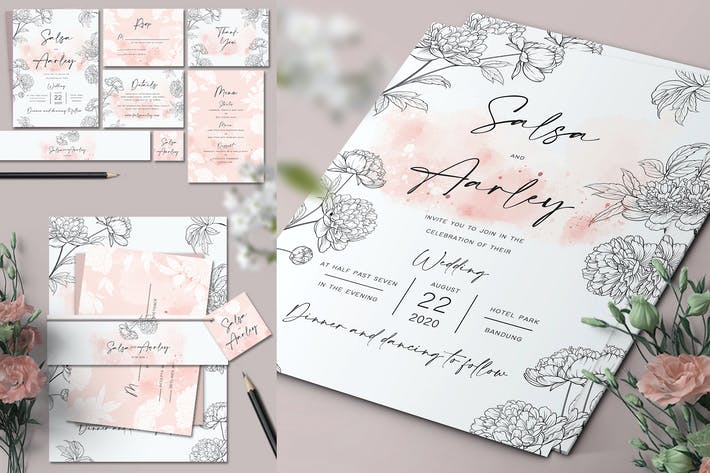 Thumbnail for Peonies Wedding Invitation Set