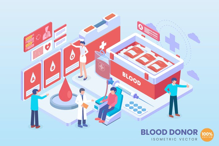 Thumbnail for Isometric Blood Donor Vector Concept