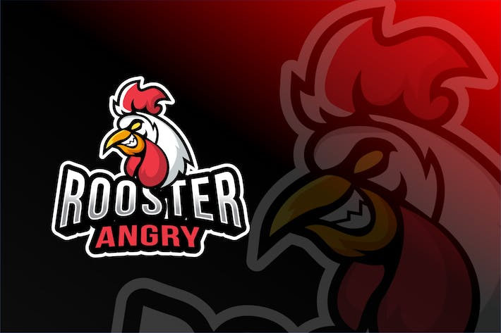 Thumbnail for Rooster Angry Esport Logo Template