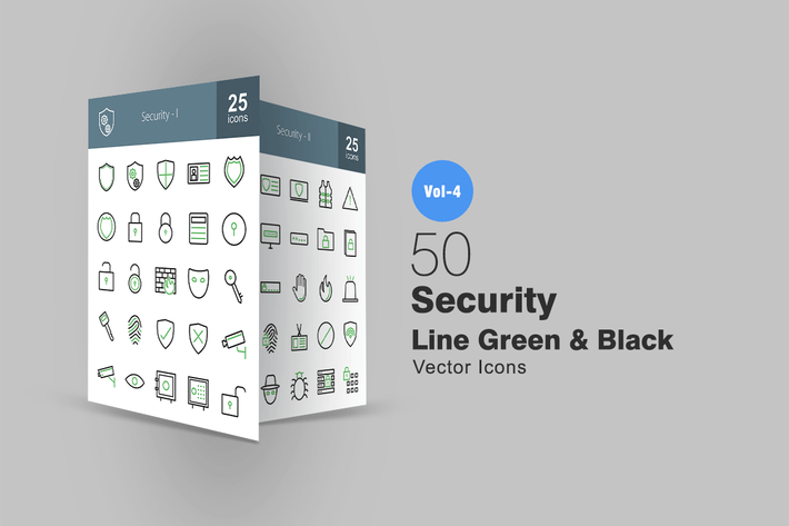 Thumbnail for 50 Security Line Green & Black Icons